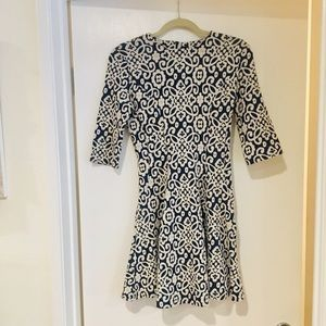 Zara fit and flare cream and navy dress